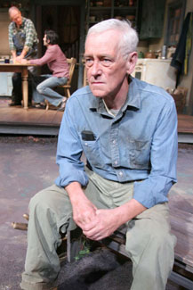Foreground: John Mahoney;Background: Paul Vincent O'Connor andLouis Cancelmi in The Drawer Boy(Photo © Jerry Dalia)
