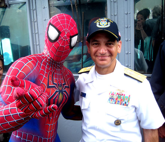 Spider-Man with the Admiral of the USS Wasp