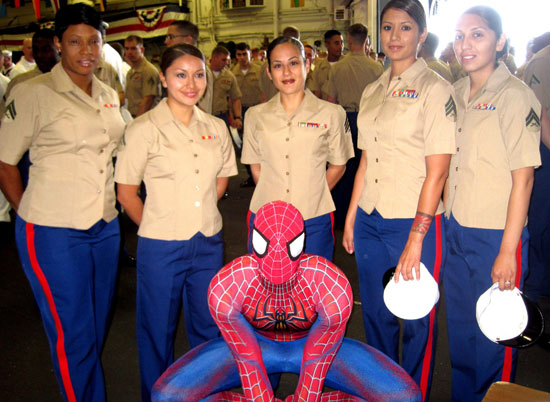 Spider-Man with military personnel