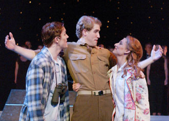 Adam Wagner, Michael Lowe, and Julie Kotarides inMerrily We Roll Along(Photo © Mark Lyons)