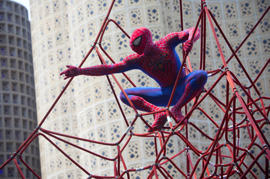 Daniel Curry as Spider-Man outside of the NYSCI building