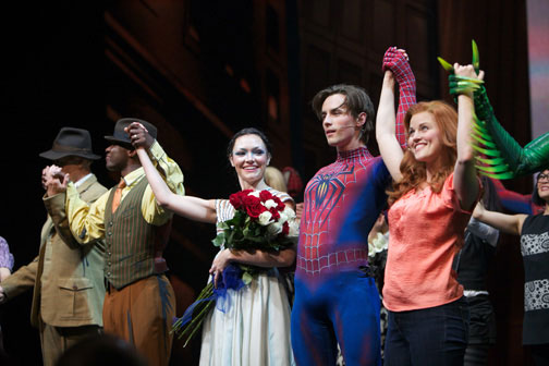 Katrina Lenk (center) at the Spider-Man: Turn Off the Dark curtain call