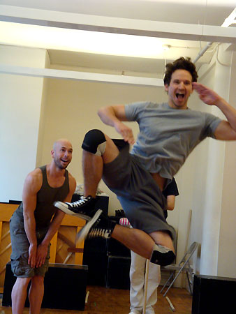 Wade McCollum and Brandon Espinoza rehearse  Triassic Parq the Musical