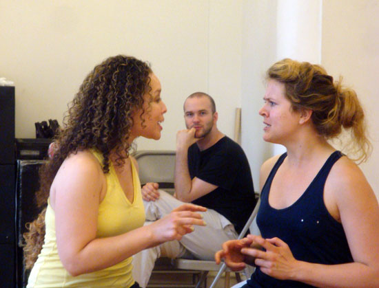 Shelley Thomas, Lee Seymour, and Claire Neumann rehearse  Triassic Parq the Musical