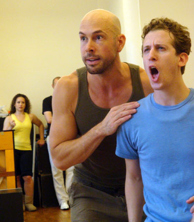 Wade McCollum and Alex Wyse rehearse  Triassic Parq the Musical