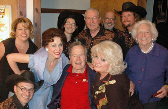 Carter Calvert and Sally Struthers with President George HW Bush and Barbara Bush backstage during Always Patsy Cline