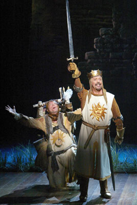 Michael McGrath and Tim Curryin Monty Python's Spamalot(Photo © Joan Marcus)