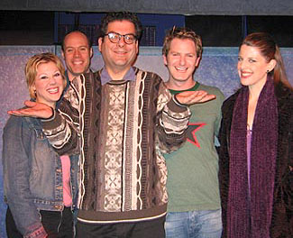 Michael Musto (center) with (l-r) Stephanie Kurtzuba,Todd Alan Johnson, Jamison Stern, and Trisha Rapier(Photo © Michael Portantiere)