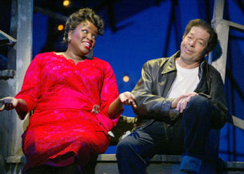 Sharon Wilkins and Jonathan Hadary in All Shook Up(Photo © Joan Marcus)