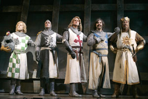 David Hyde Pierce, Hank Azaria, Christopher Sieber,Steve Rosen, and Tim Curry in Monty Python's Spamalot(Photo © Joan Marcus)