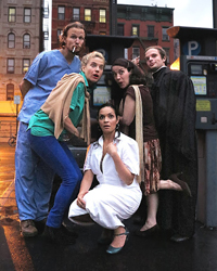 Drew Valins (Dr. Caius), Victorial Campbell (Mistress Paige), Veronica Cruz (Mistress Quickly), Karla Hendrick (Mistress Ford), and Andrew Markert (Hugh Evans)