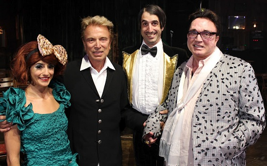 Siegfried (second from left) and Roy (right) with Absinthe cast members (Photo courtesy of Joseph Sanders/Spiegelworld)