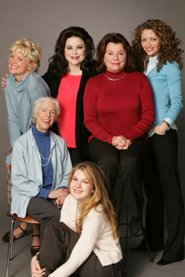 (Clockwise from bottom): Lily Rabe,Frances Sternhagen, Christine Ebersole, Delta Burke,Marsha Mason, and Rebecca Gayheartof Steel Magnolias(Photo © Joan Marcus)