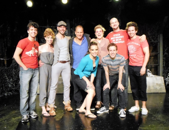 Woody Harrelson (center), Marshall Pailet (left), and the cast of Triassic Parq the Musical (© Donna Trinkoff)