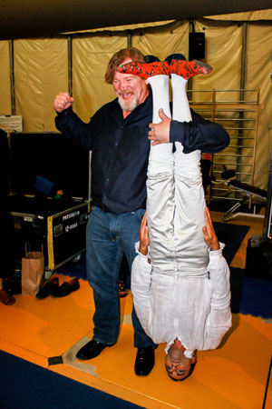 Brendan Gleeson with a cast member from Amaluna 
