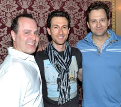 Aaron Lazar (center) with fellow new Mamma Mia! dads Daniel Cooney and Graham Rowat (© David Gordon)