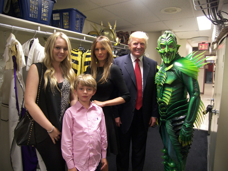 Tiffany Trump, Melania Knauss Trump, Barron Trump, Donald Trump, and Patrick Page