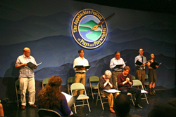 The professional actors of Barter Theatre during the 2011 staged reading of Catherine Bush's adaptation of Walking Across Egypt