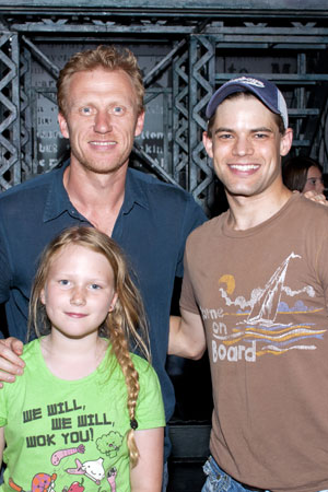 Kevin McKidd and his daughter, Iona, with Jeremy Jordan