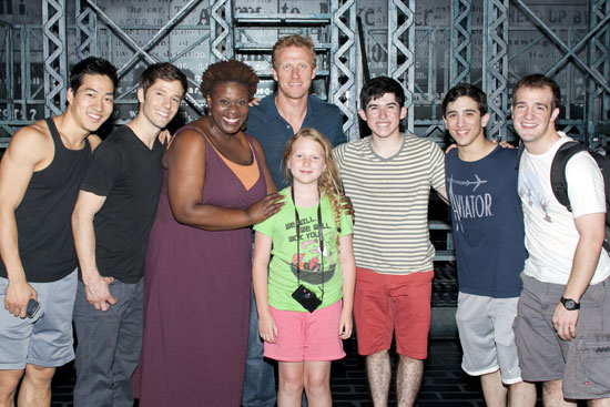 Kevin McKidd and his daughter, Iona, (center) with Alex Wong, Thayne Jasperson, Capathia Jenkins, Andy Richardson, Jess LeProtto, and Evan Kasprzak