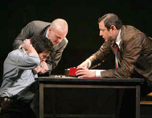 Billy Crudup, Zeljko Ivanek, and Jeff Goldblumin The Pillowman(Photo © Joan Marcus)
