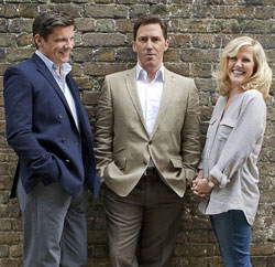 Rob Brydon, Nigel Harman, and Ashley Jensen