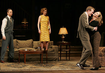 Bill Irwin, Mireille Enos, David Harbour, and Kathleen Turnerin Who's Afraid of Virginia Woolf?(Photo © Carol Rosegg)