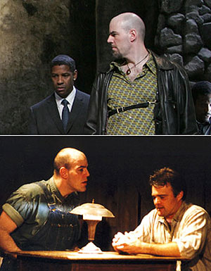 Top: Mark Mineart now, with Denzel Washingtonin Julius Caesar(Photo © Joan Marcus)Bottom: Mark Mineart then, with Graham Wintonin Of Mice and Men(Photo © Gerry Goodstein)