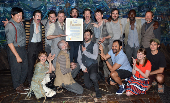 The cast of Peter and the Starcatcher with the Mayor's Proclamation