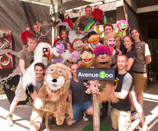Cast members from Avenue Q at the Bronx Zoo