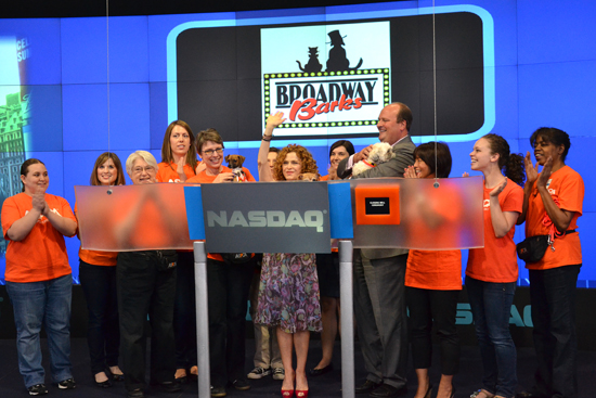 Bernadette Peters rings the NASDAQ Closing Bell