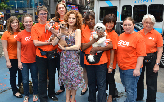 Bernadette Peters with members of the ASPCA in Times Square (© David Gordon)