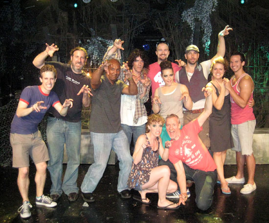 Lindsay Nicole Chambers and Chris Barron (front) with The Spin Doctors and the cast of Triassic Parq