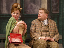 Suzie Toase and James Corden in One Man, Two Guvnors (© Joan Marcus)