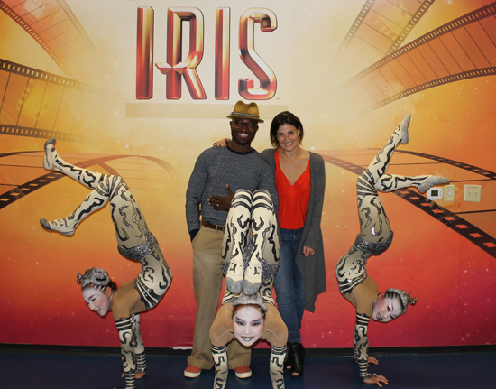 Taye Diggs and Idina Menzel with cast members of Iris