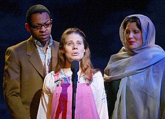Derrick Baskin, Celia Keenan-Bolger, and Lisa Howard inThe 25th Annual Putnam County Spelling Bee(Photo © Joan Marcus)