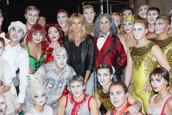 Heidi Klum (center) and the cast of Zarkana