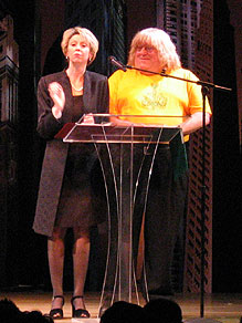 Julie Halston and Bruce Vilanch hostingthe 2004-2005 Lucille Lortel Awards(Photo © Michael Portantiere)