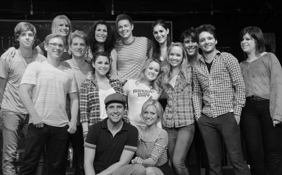 Brittany Snow with the cast of Spring Awakening