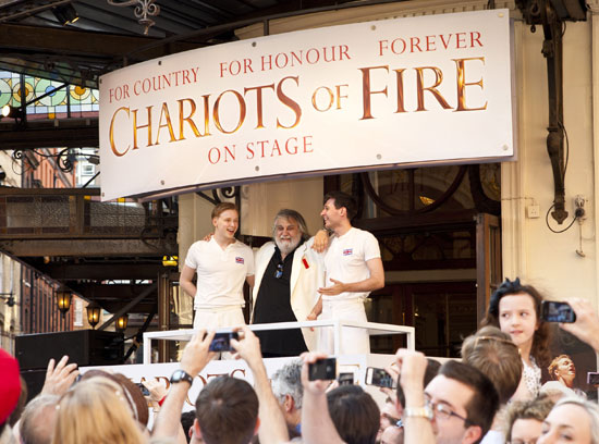 Jack Lowden, Vangelis and James McCardle welcome the Olympic Torch to the West End