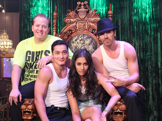 Janina Gavankar with the Esteemed Gentlemen of the High Wire (Tony Hernandez, Paul Lopez, Almas Meirmanov)