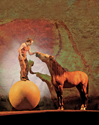A performer and his horse in Cavalia