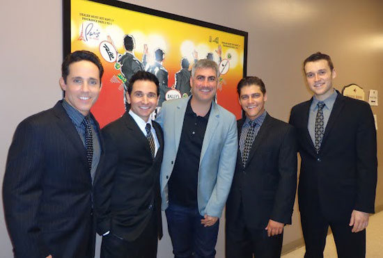 Taylor Hicks (center) with Jersey Boys cast members Jeff Leibow, Travis Cloer, Deven May, and Rob Marnell