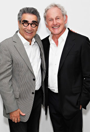 Actor and comedian Eugene Levy with Victor Garber, following his cabaret debut
