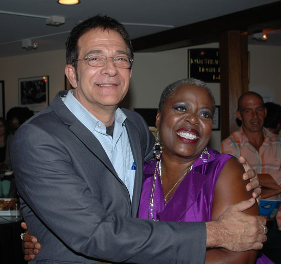 Big Maybelle's writer/director Paul Levine celebrates with his star, Lillias White at the opening night party (© Barry Gordin)