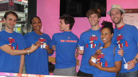 Andy Sandberg, Natalie Venetia Belcon, Tyler Jones, Jake Boyd, Ashanti J'Aria and John Walton West at Tasti D-Lite Times Square