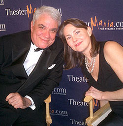 Cherry Jones with Rex Reed in the TheaterManiapress room at the Drama Desk Awards(Photo © Alison Albeck)