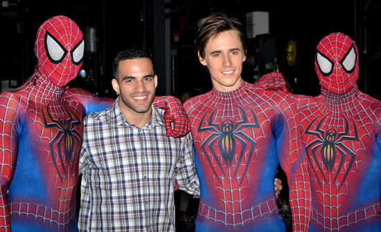 2012 Olympic Bronze Medalist Danell Leyva and Reeve Carney flanked by masked Spider-Men backstage at the Foxwoods Theatre