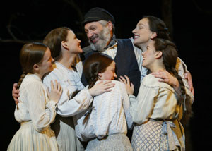 Tevye (Harvey Fierstein) and his daughtersin Fiddler on the Roof(Photo © Carol Rosegg)