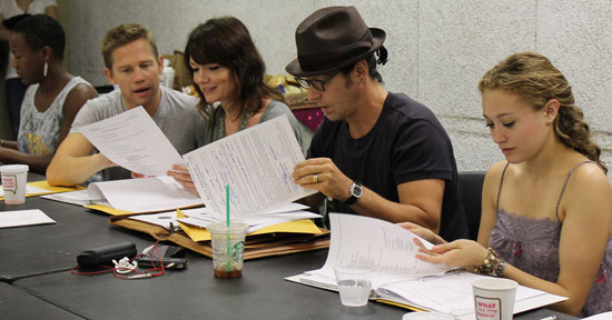 Anastacia McClesky, Jack Noseworthy, Katrina Lenk, Rob Morrow and Jill Schackner at the first table read for the new musical, Last Dance